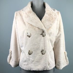 Boston Proper Beige Faux Fur Coat Jacket Size S
